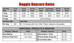 Doggie Daycare Rates